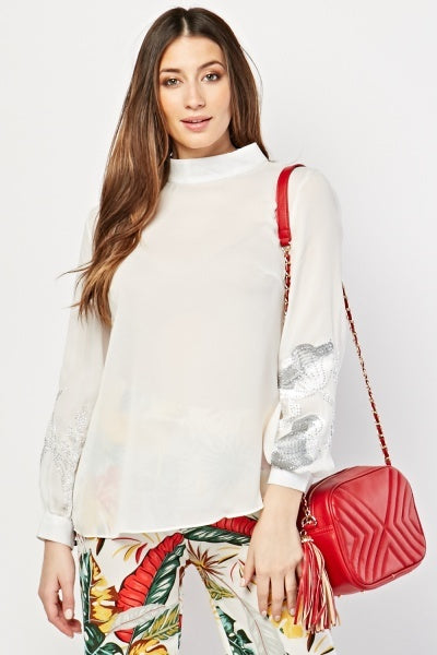 Kristin Contrast Floral Embroidery Sleeves Blouse Top-Woven Trends