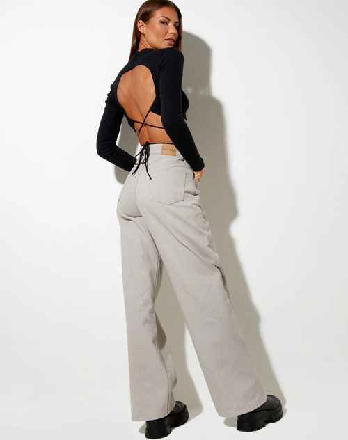 Bella Wide Leg Denim Jeans in Moonstruck