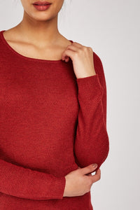 Brielle Textured Rib Knitted Contrast Jumper-Woven Trends