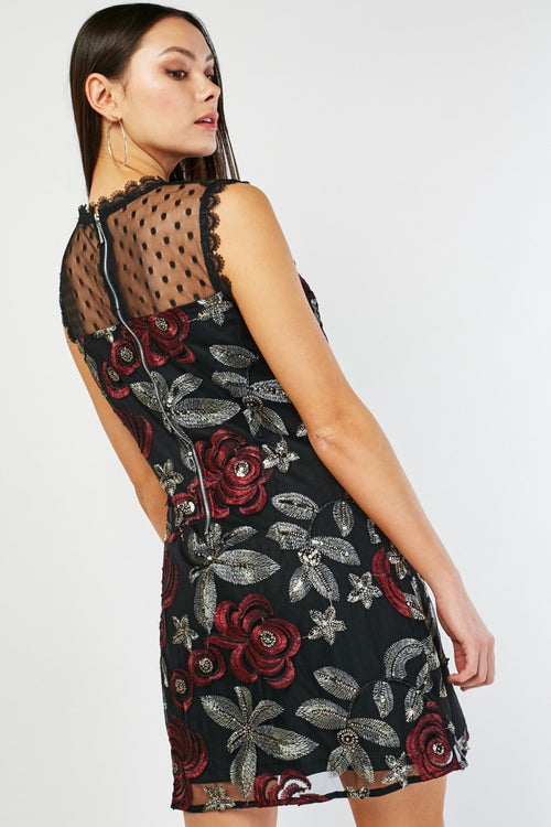 Brielle Embroidery Detail Floral Mini Dress-Woven Trends