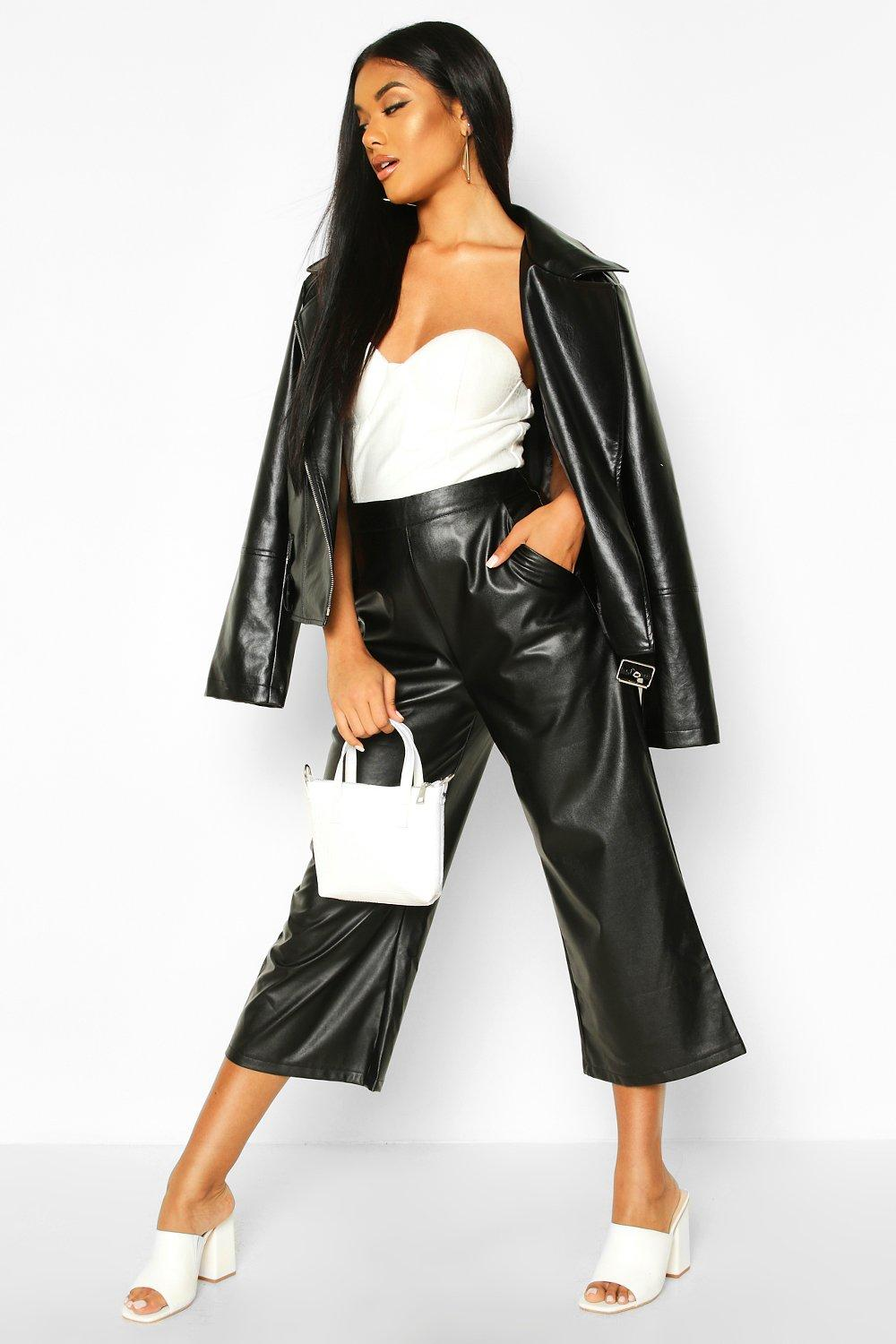 Roberta Leather Look Tailored Vinyl Cullottes - Woven Trends
