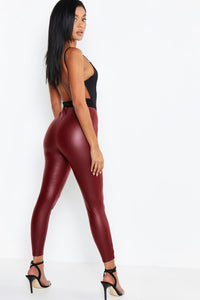 Macey Matte Leather Look Datex Leggings - Woven Trends