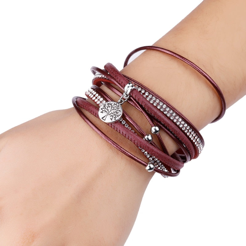 Ruby Leather Mix Charm Bracelets - woven-trends
