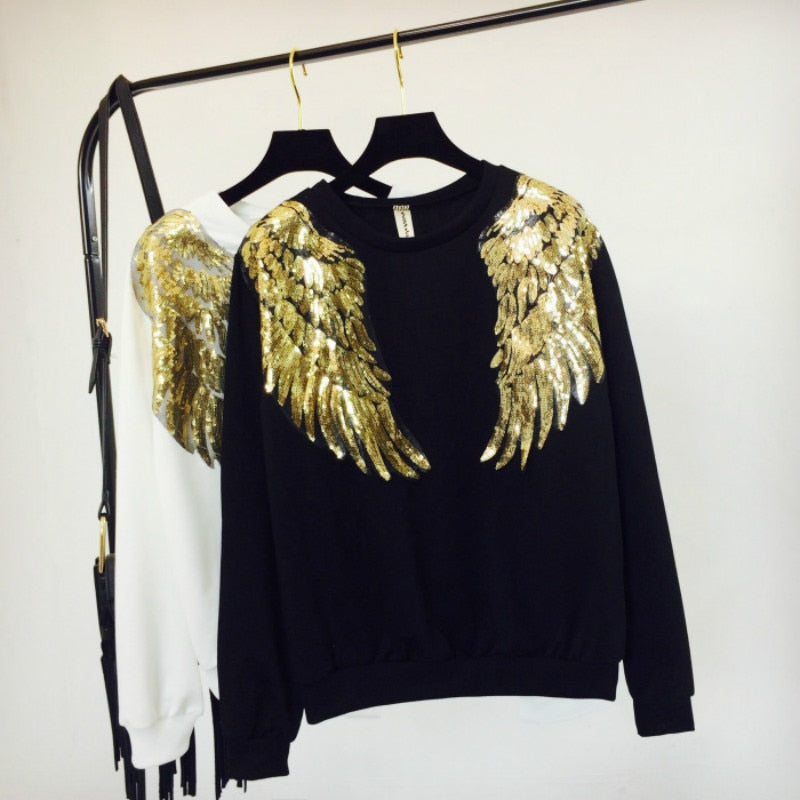 Angela Winged Embroidery Sweatshirt