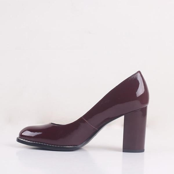 Genuine Leather Wine Red Pumps Court Heels - woven-trends