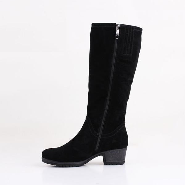 Sheep Suede Knee High Boots - woven-trends