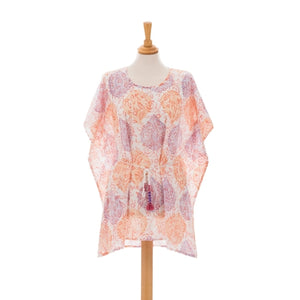 Bright Paisley Mini Kaftano - Light Print Beaded Kaftan Dress Woven Trends