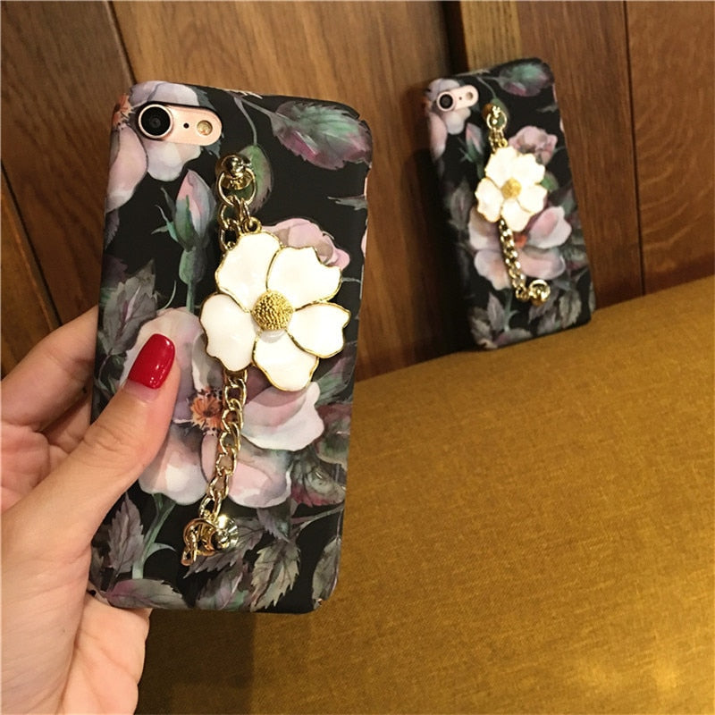 Floral Rose Print Glitter Phone Case - woven-trends