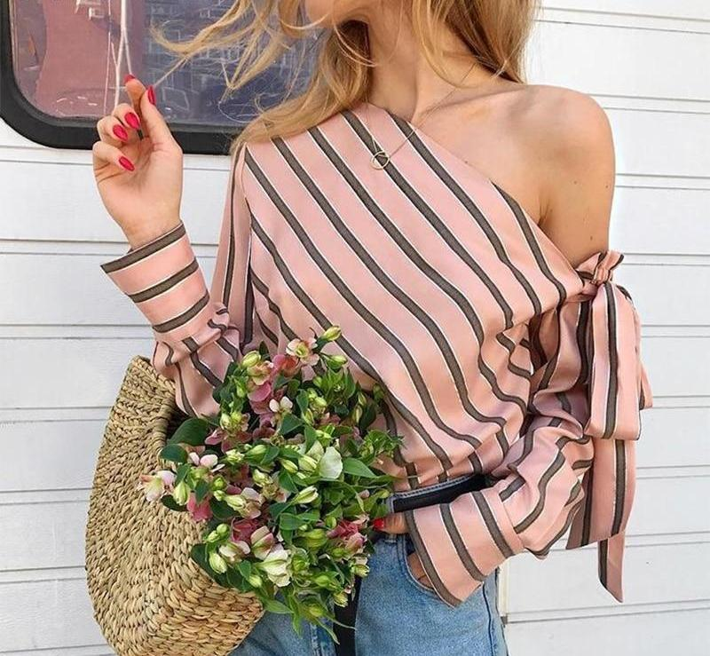 Nevaeh Striped One Shoulder Blouse Shirt Woven Trends