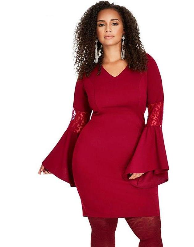 Plus Size Bell Flare Sleeve Midi Bodycon Dress