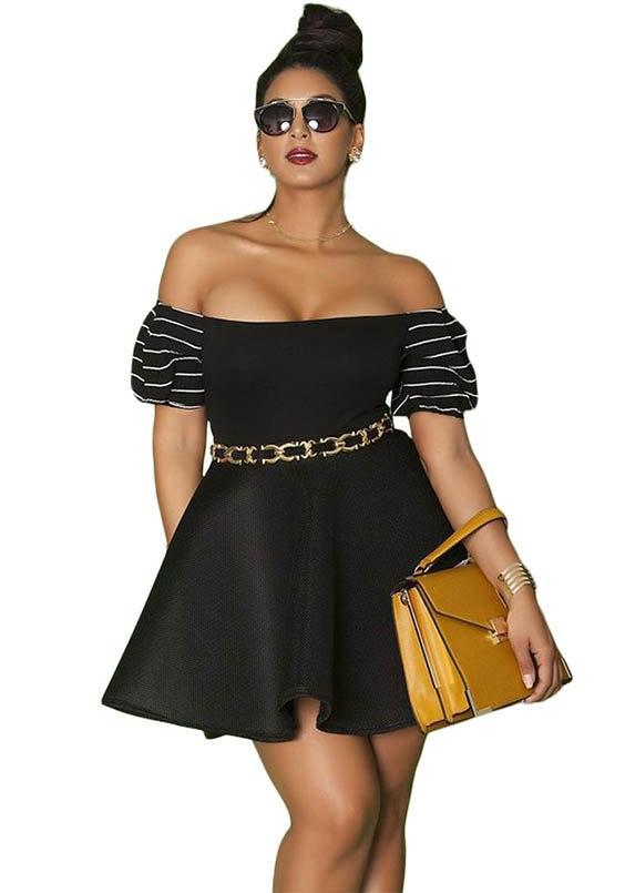 Plus Size Above Knee Pleated Skater Dresses With Off Shoulder Detail