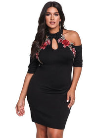 Cold Shoulder Bodycon Rose Embroidery Applique Plus Dress Woven Trends