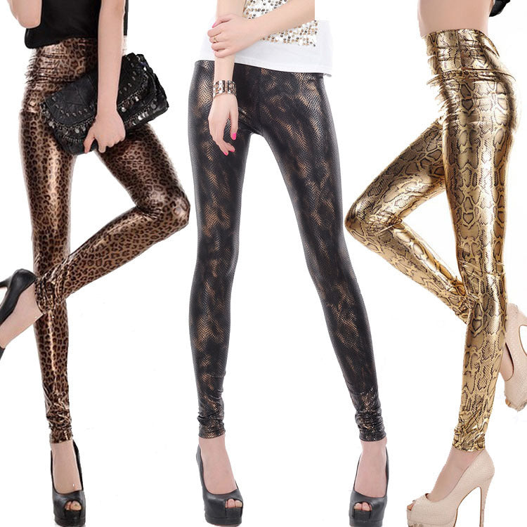 Eileen Snake Pattern Shiny Disco Leggings Woven Trends