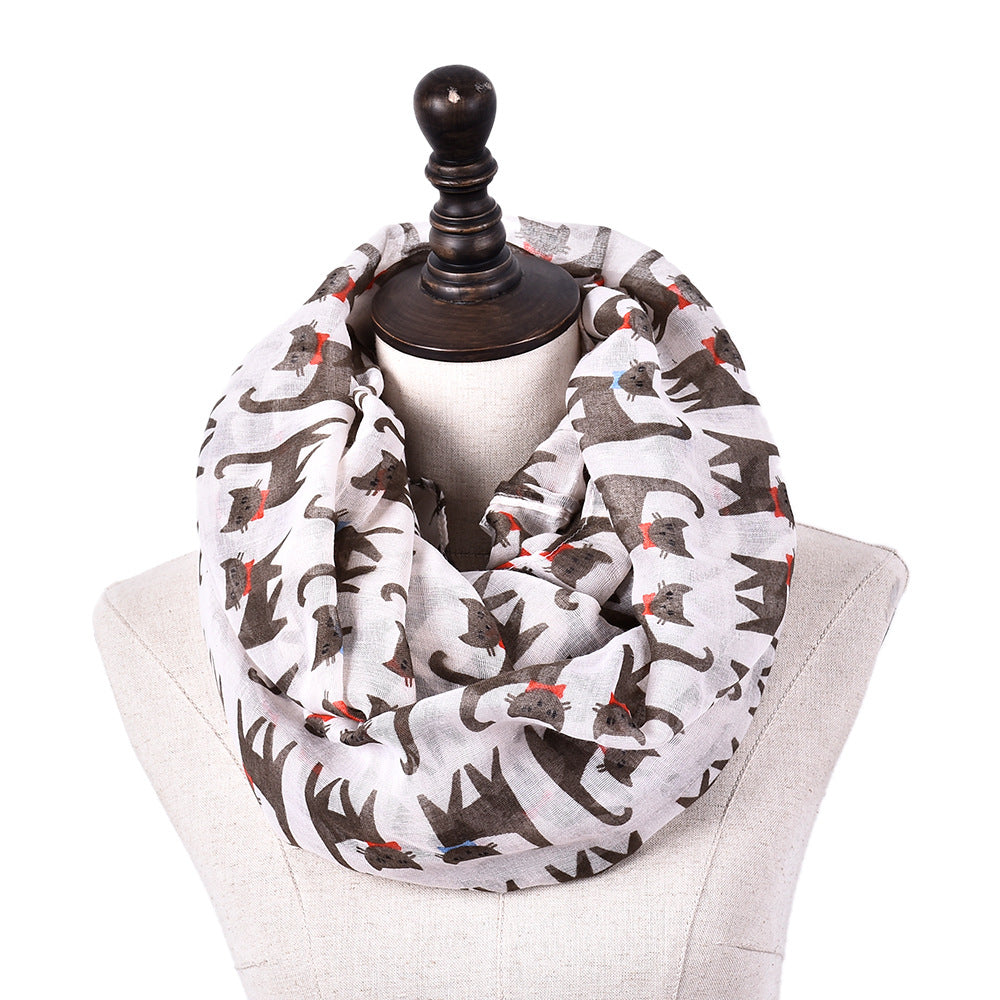 Nirie Cat Print Ring Shawl Scarves - woven-trends