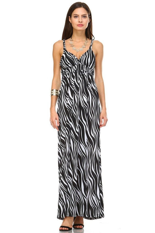 Braided Strap Detail Mix Print Maxi Dress Dresses - Woven Trends Fashion Collection