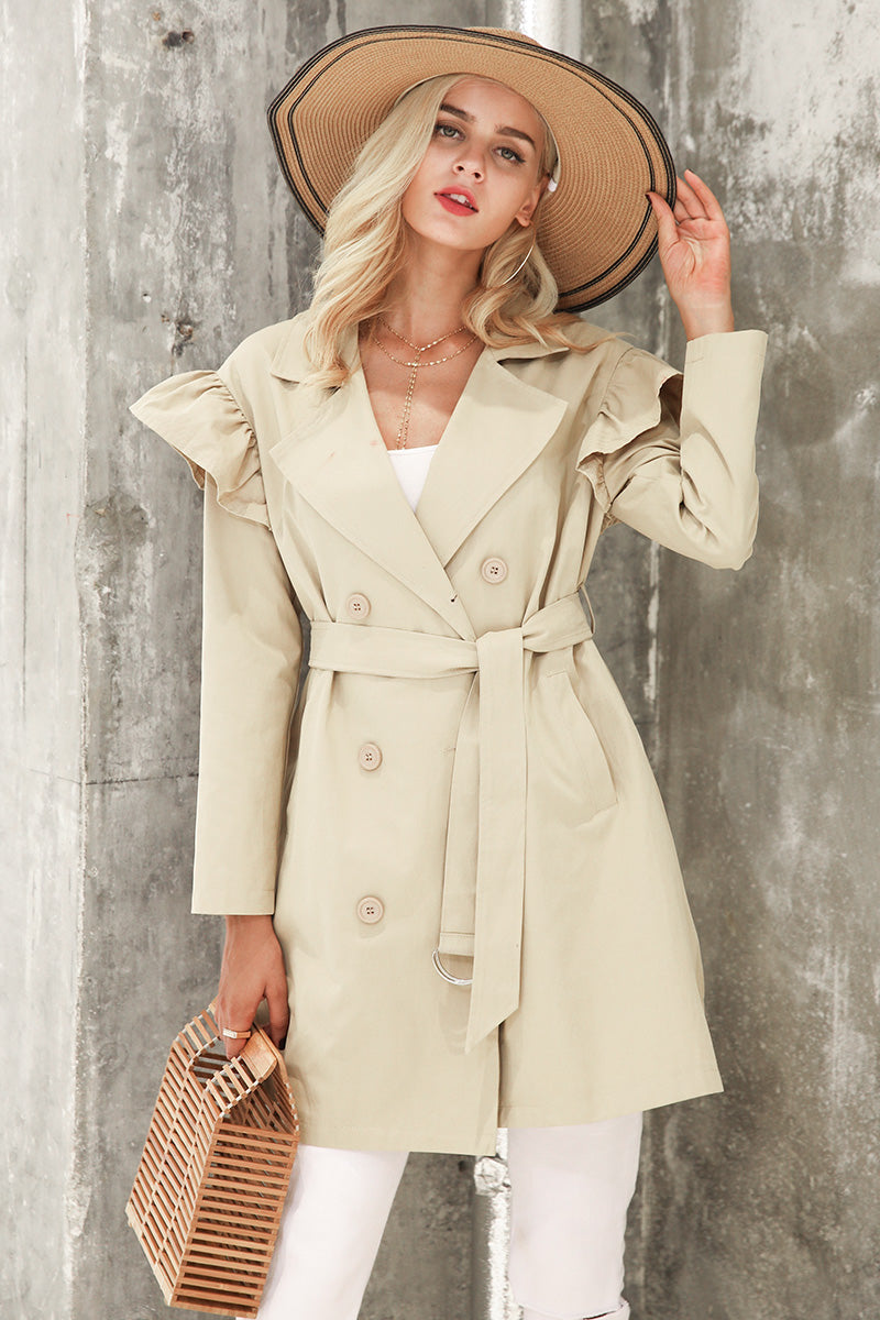 Double Breasted Ruffle Detail Trench Coat - woven-trends