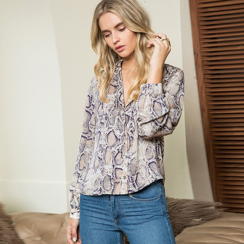 Snake Print Casual Long Sleeve Plus Size Blouse Top