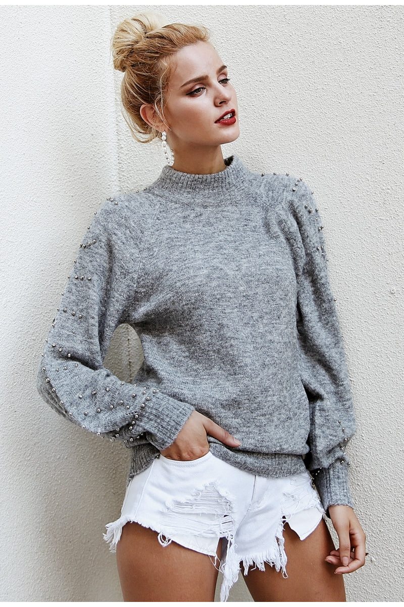Pearl Detail Loose Sleeve Pullover Jumper - woven-trends