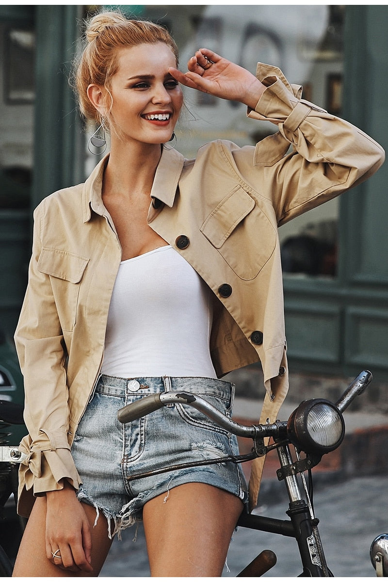 Elegant Street Wear Short Sashes Trench Coat - woven-trends
