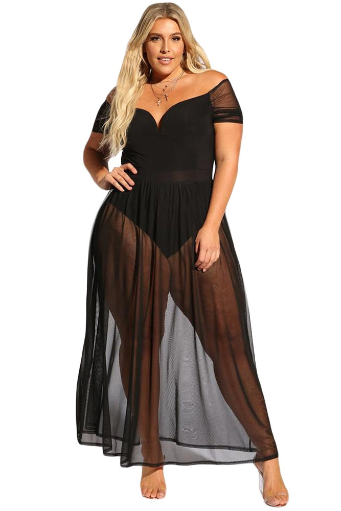 Hollow Out Club Sheer Dress With V Neck Off Shoulder Detail