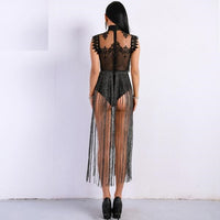Ariele Tassel Lace Bodysuit Playsuit - woven-trends