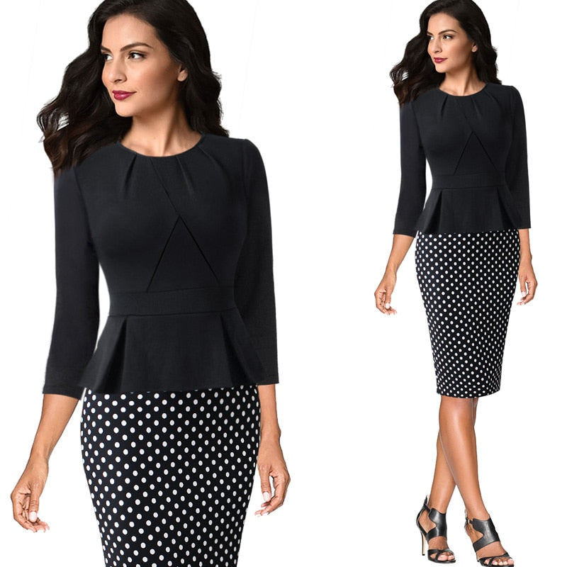 Pleated Neck Ruffle Peplum Casual Office Dress