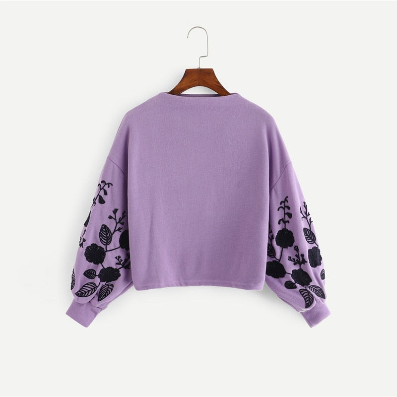 Molly Preppy Floral Embroidered Pullover
