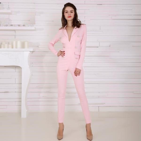 Stacey V Plunge Long Sleeve Jumpsuit - Woven Trends