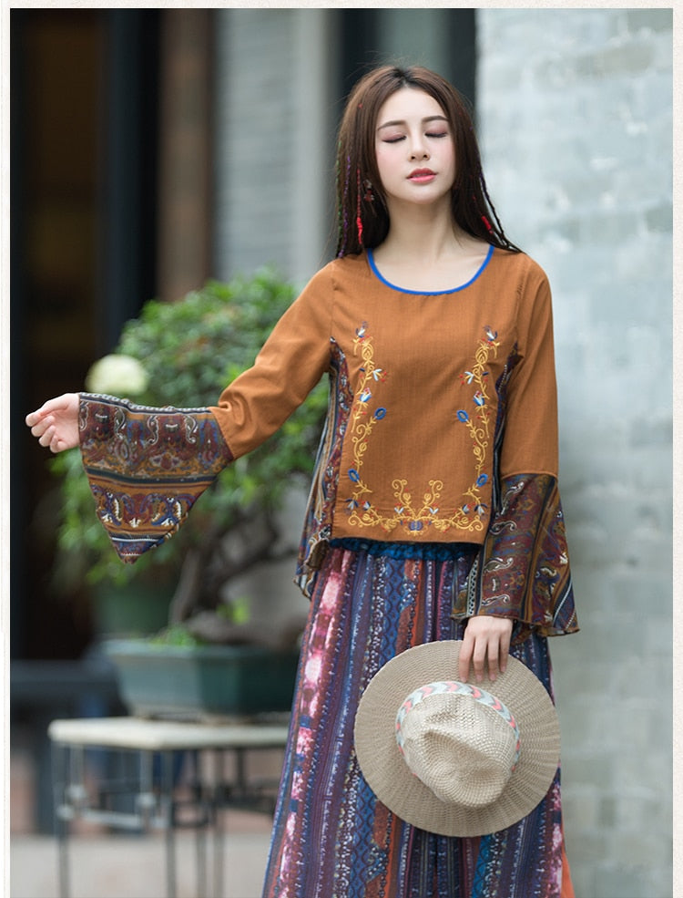 Helena Flower Embroidered Blouse Woven Trends