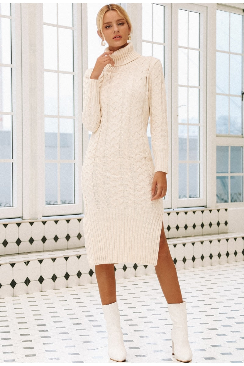 Turtleneck Cozy Wear Mid-Calf Sweater Dress - woven-trends
