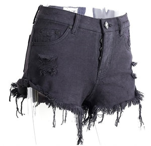 Vintage Distress Hole Fringed Denim Shorts - Short Casual Jeans Shorts - woven-trends