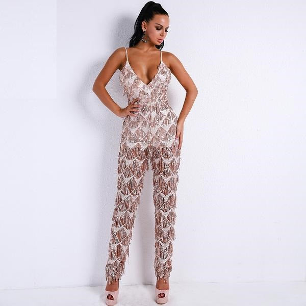 Amelia Harness Sequin Detailed Overall Jumpsuit - Woven Trends