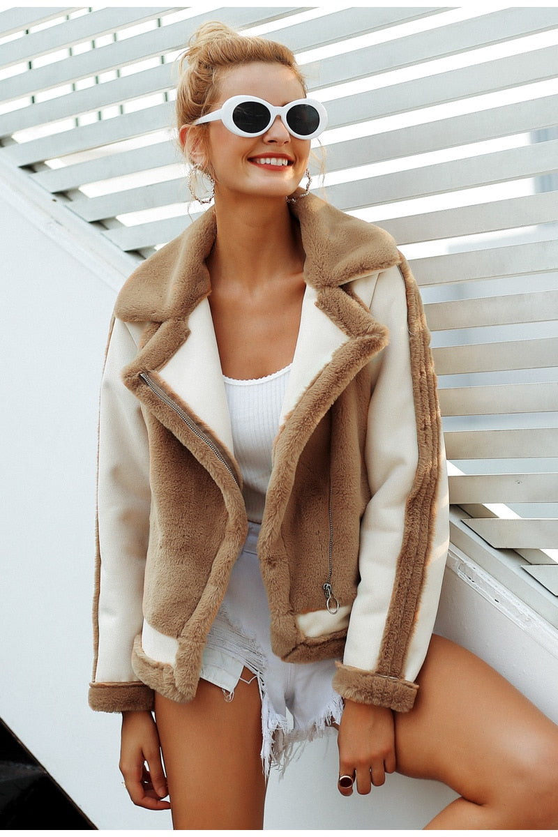 Faux Fur Soft Spliced Plush Jacket - woven-trends