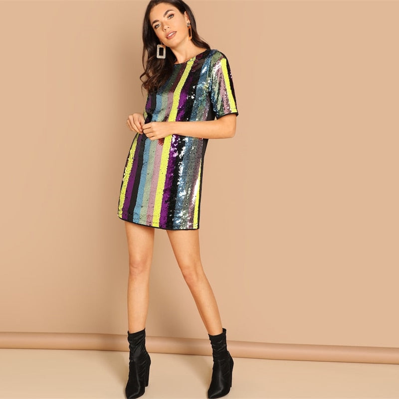 Jackie Multicolor Striped Tunic Sequin Dress