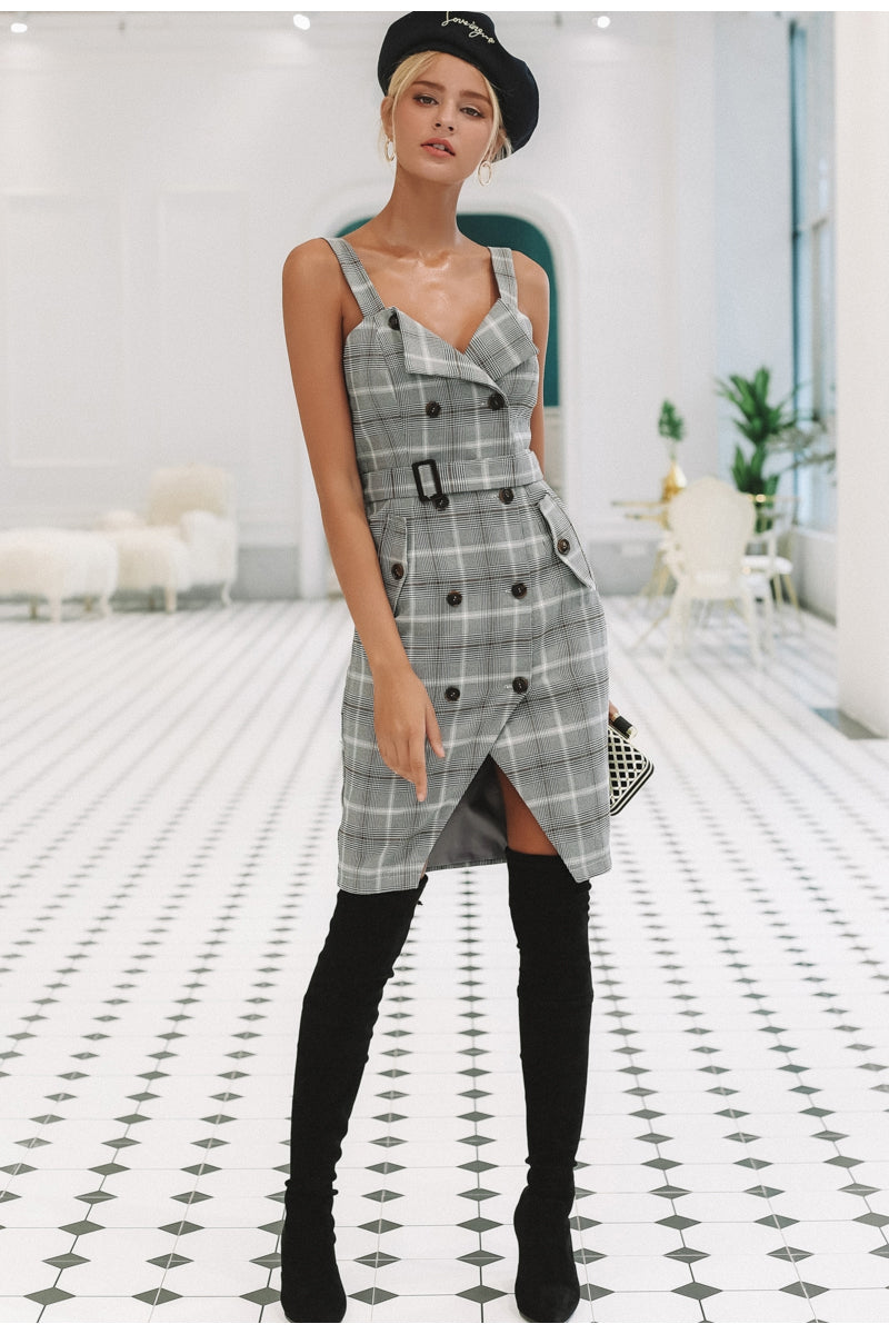 Plaid Print Strap Detail Office Lady Dress