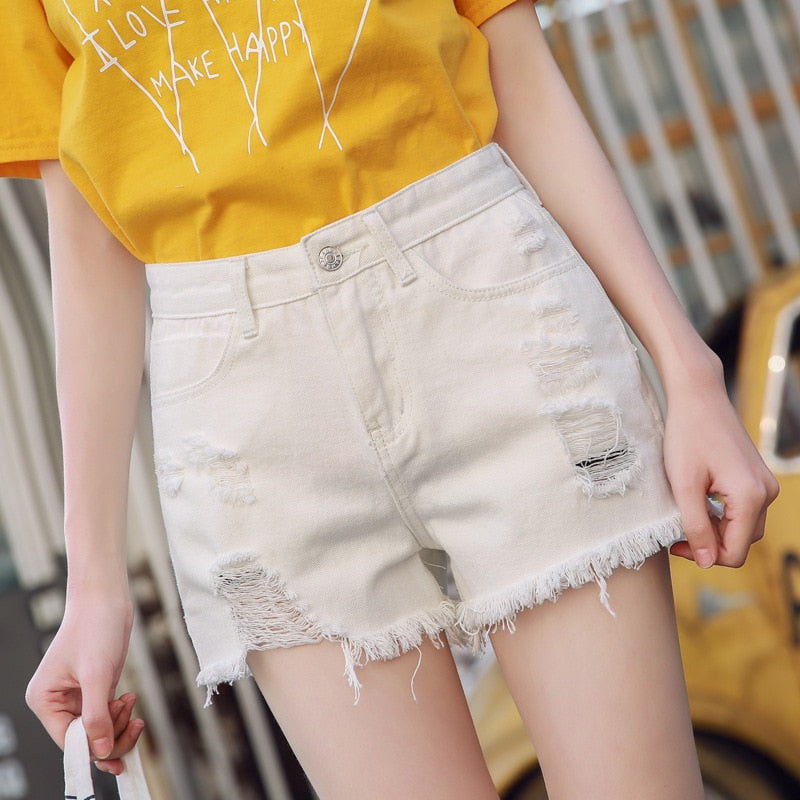 Ellie High Waist Denim Shorts - Woven Trends