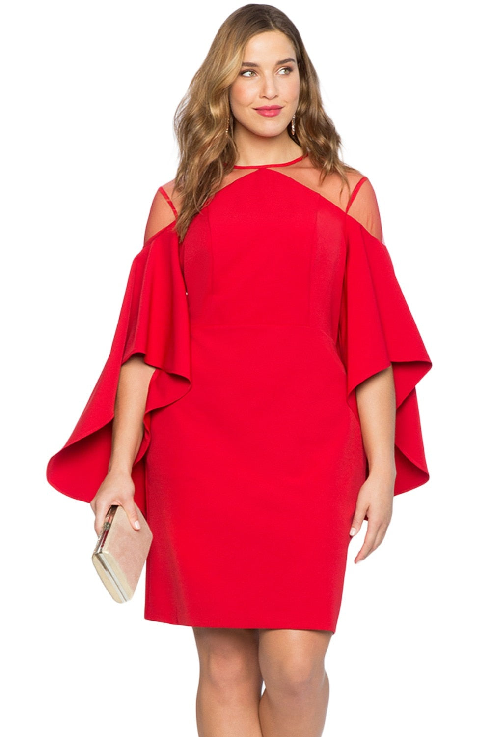 Cut Out Shoulder Detail Elegant Party Dress Woven Trends
