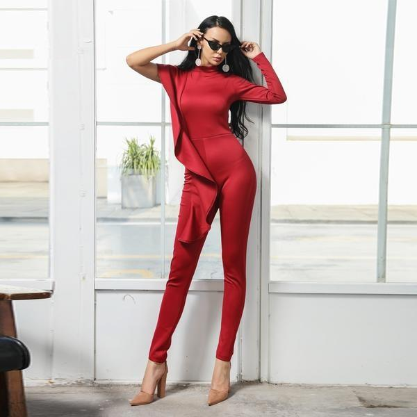Ariyah High Neck One Shoulder Ruffle Romper Jumpsuit Woven Trends
