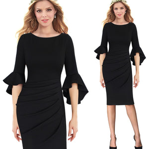 Angela Flare Bell Three Quarter Sleeve Bodycon Dress Woven Trends