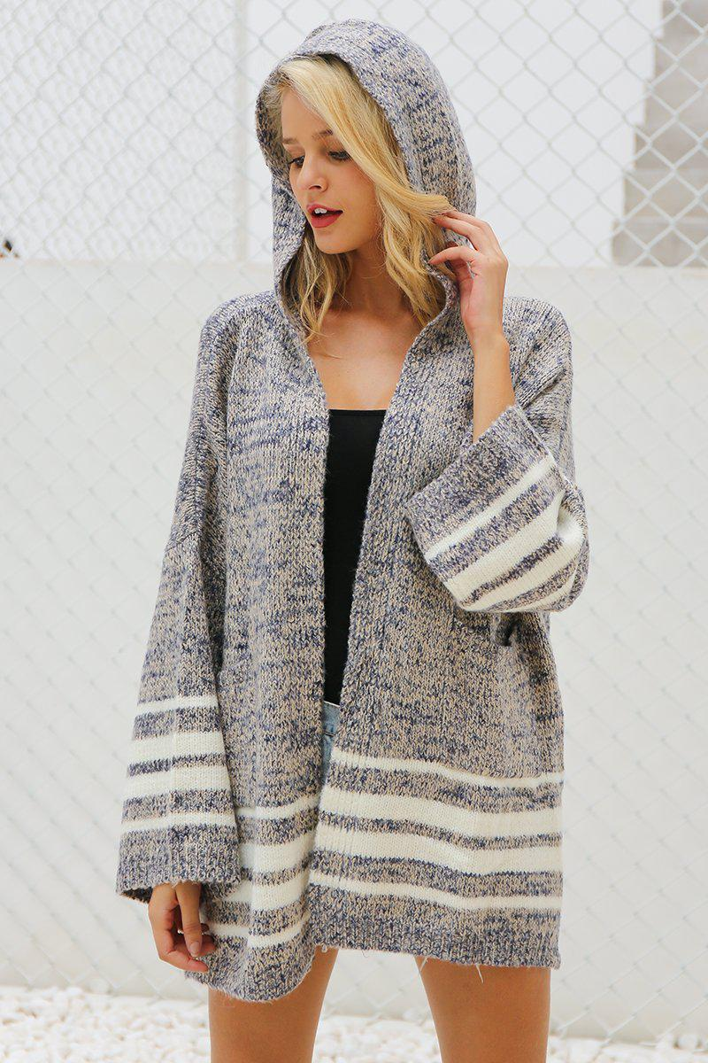 Knitted Hooded Loose Sweater - Striped Hooded Cardigan - Woven Trends