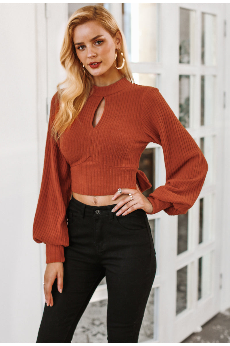 Kathleen Lantern Sleeve Crop Top - woven-trends