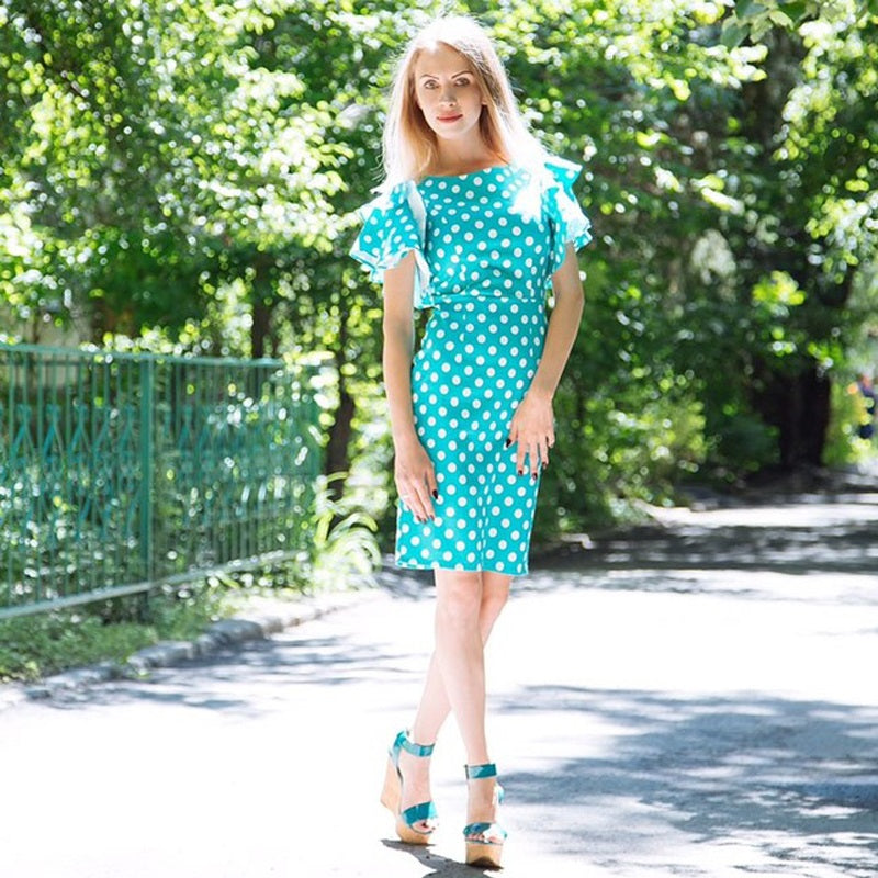 Dress With Petal Sleeve Design Polka Dot - Sheath Pin Up Dress Round Neck Woven Trends