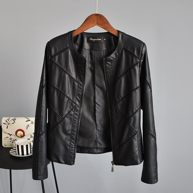 Felicity Muubaa Faux Leather Biker Jacket Woven Trends