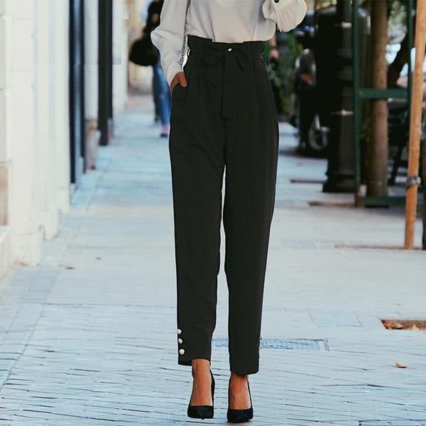 Kamryn Straight Flat Front Pants - Woven Trends