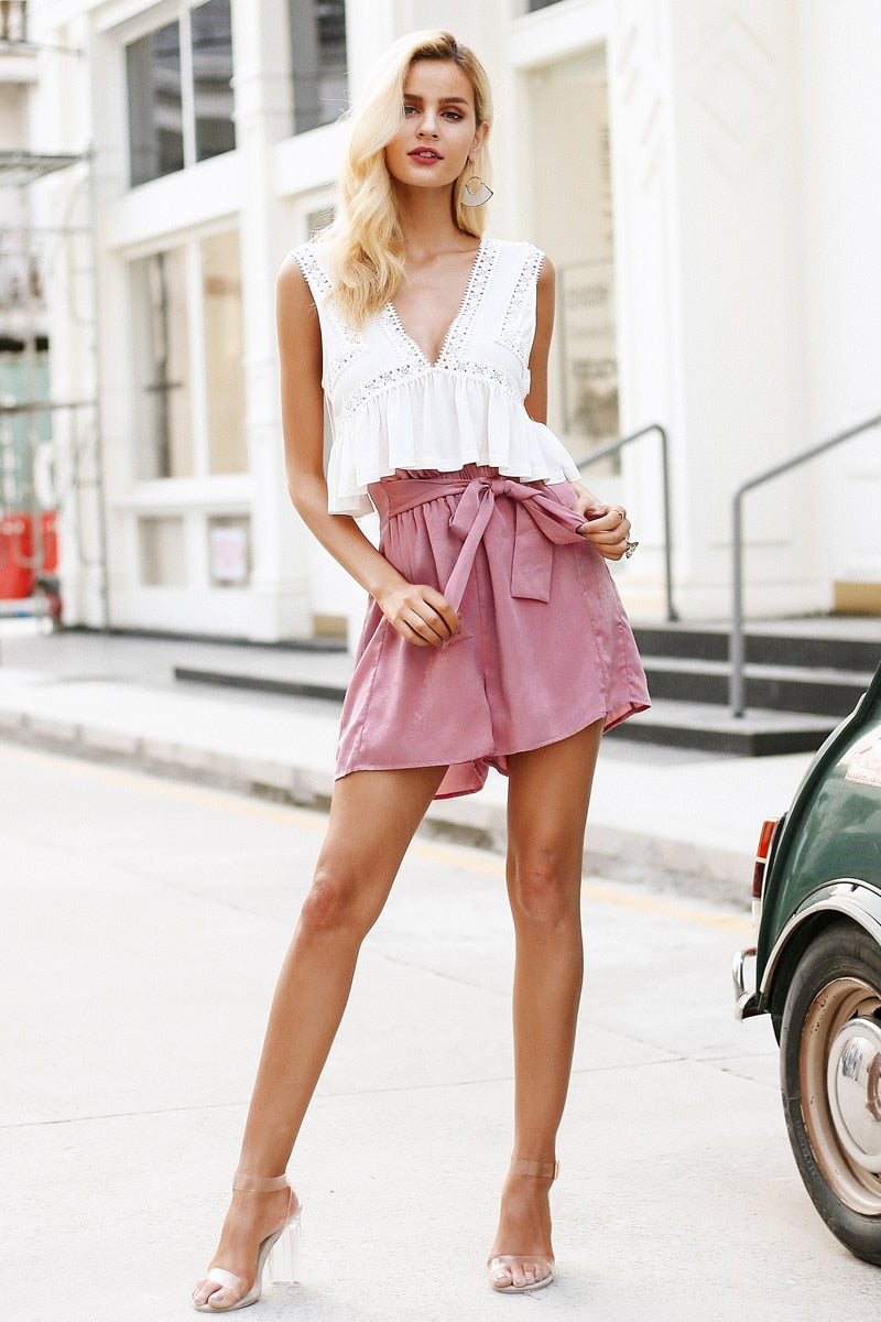Beverly Ruffle Bow Casual Shorts - Woven Trends