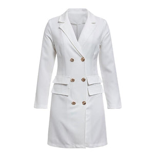 April Double Breasted Blazer Dress - woven-trends
