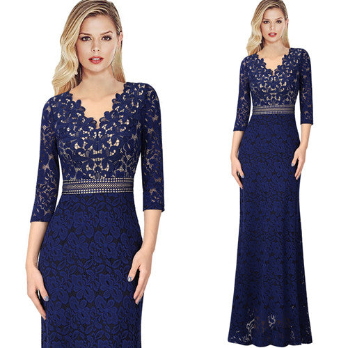 Alexa Keyhole Lace Trim Formal Evening Maxi Dress Woven Trends