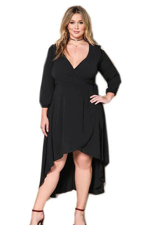 Agnes Deep V Neck Ruffle Pleat Party Dress - woven-trends