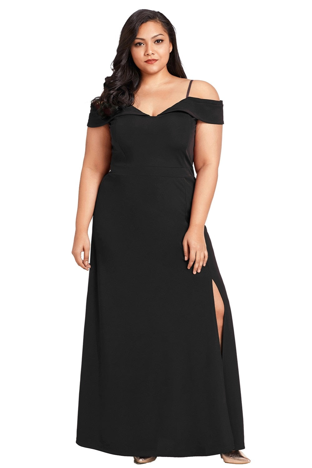 High-Thigh Split Off Shoulder Plus Size Party Maxi Woven Trends
