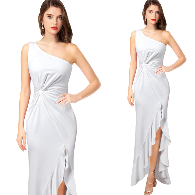Angelina One Shoulder Ruched Twist Knot Asymmetric Maxi Dress - woven-trends
